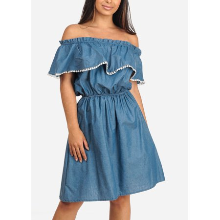 Womens Juniors Ladies Stylish Summer Going Out Brunch Beach Vacation Medium Blue Denim Off Shoulder Midi Dress (Best Dresses For Beach Vacation)