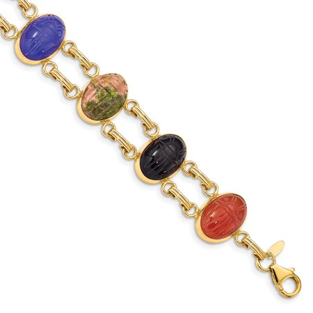 14k Yellow Gold 7 Stone Scarab Bracelet Inch For Women