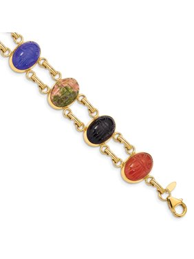 61d126dad Product Image 14k Yellow Gold 7 Stone Scarab Bracelet Inch Gifts For Women  For Her