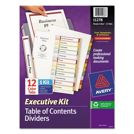 Avery Ready Index Customizable Executive Table Of Contents Asst