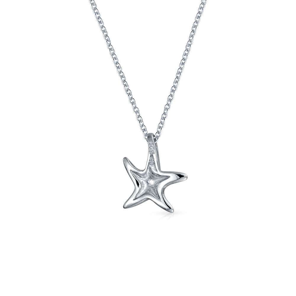 925 Sterling Silver Cubic Zirconia Polished Starfish Pendant