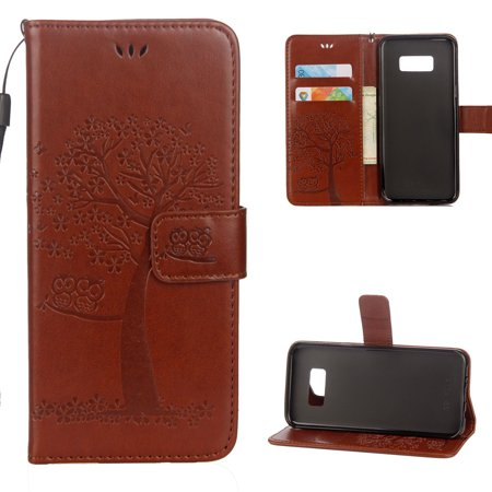 S7 Case, Samsung Galaxy S7 Case - Allytech Premium Wallet PU Leather with Fashion Embossed Floral Owl Tree Magnetic Clasp Card Holders Flip Cover with Hand Strap, Brown ()