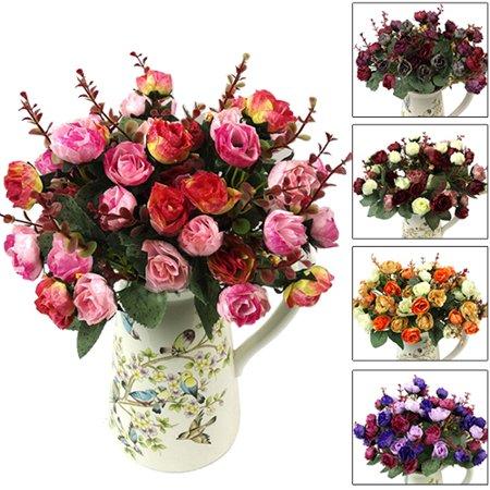Girl12Queen 1 Bouquet 21 Head Artificial Rose Silk Flower Leaf Home Party Wedding Decor