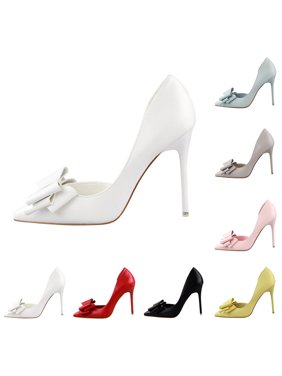 022723b0d1a6 Fashion Women Sweet Bowknot Thin High Heels Shoes Pointed-Toe Stiletto Pumps
