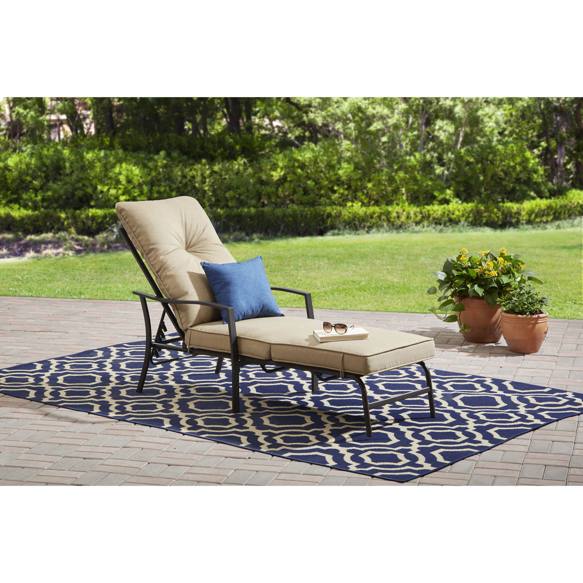 Mainstays Forest Hills Outdoor Chaise Lounge, Espresso Frame