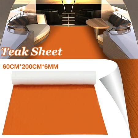 Marine Boat Flooring Sheet Decking Teak EVA Foam Yacht RV Swimming Pool Self-Adhesive Mat 24X79'' 6mm Thickness Pool Deck Flooring