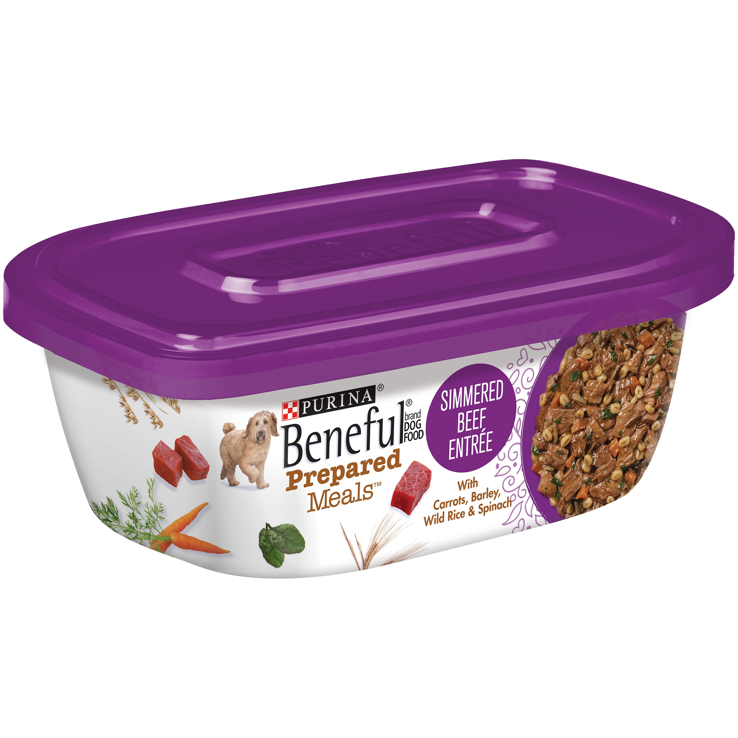 Purina Beneful Prepared Meals Simmered Beef Entree Dog Food 10 oz. Plastic Tub