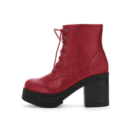 a882e444ff8f3 Unique Bargains Women s Lace Up Platform Chunky Heel Ankle Combat Boots  Black (Size 6) ...