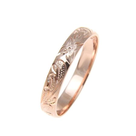 Sterling silver 925 pink rose gold plated 4mm Hawaiian scroll hand engraved ring band size 1 (Hand Engraved Band)