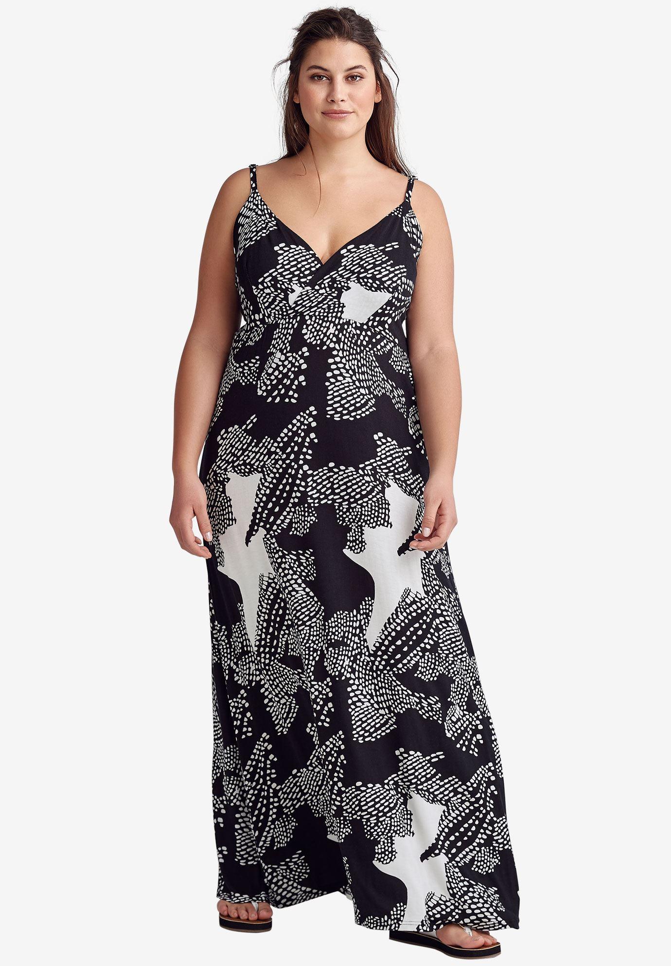 Ellos - Plus Size Knit Surplice Maxi Dress - Walmart.com