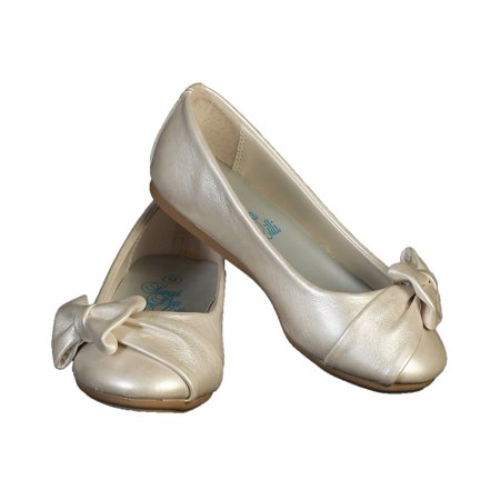Girls Ivory Bow June Special Occasion Dress Shoes 11-4 - Special Occassion Shoes