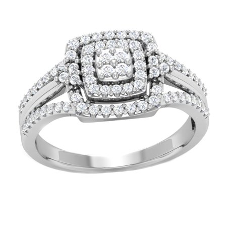 10K White Gold 0.50 Ct Round Cut Natural Diamond Halo Engagement Ring I2