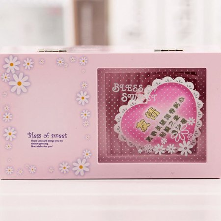 Blue Fairy & Butterfly Kids Musical Jewellery Box - Glittery Music Box with Ring Holder Color:pink