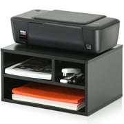 FITUEYES Wood Printer Stands with Storage,Workspace Desk Organizers for Home Office,Black,DO304001WB