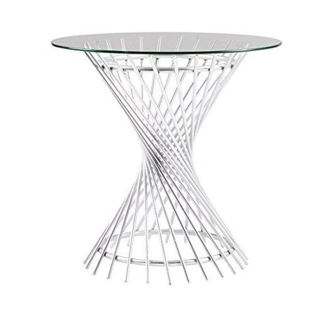 Mid Century Modern Glass Top Accent Side End Table With