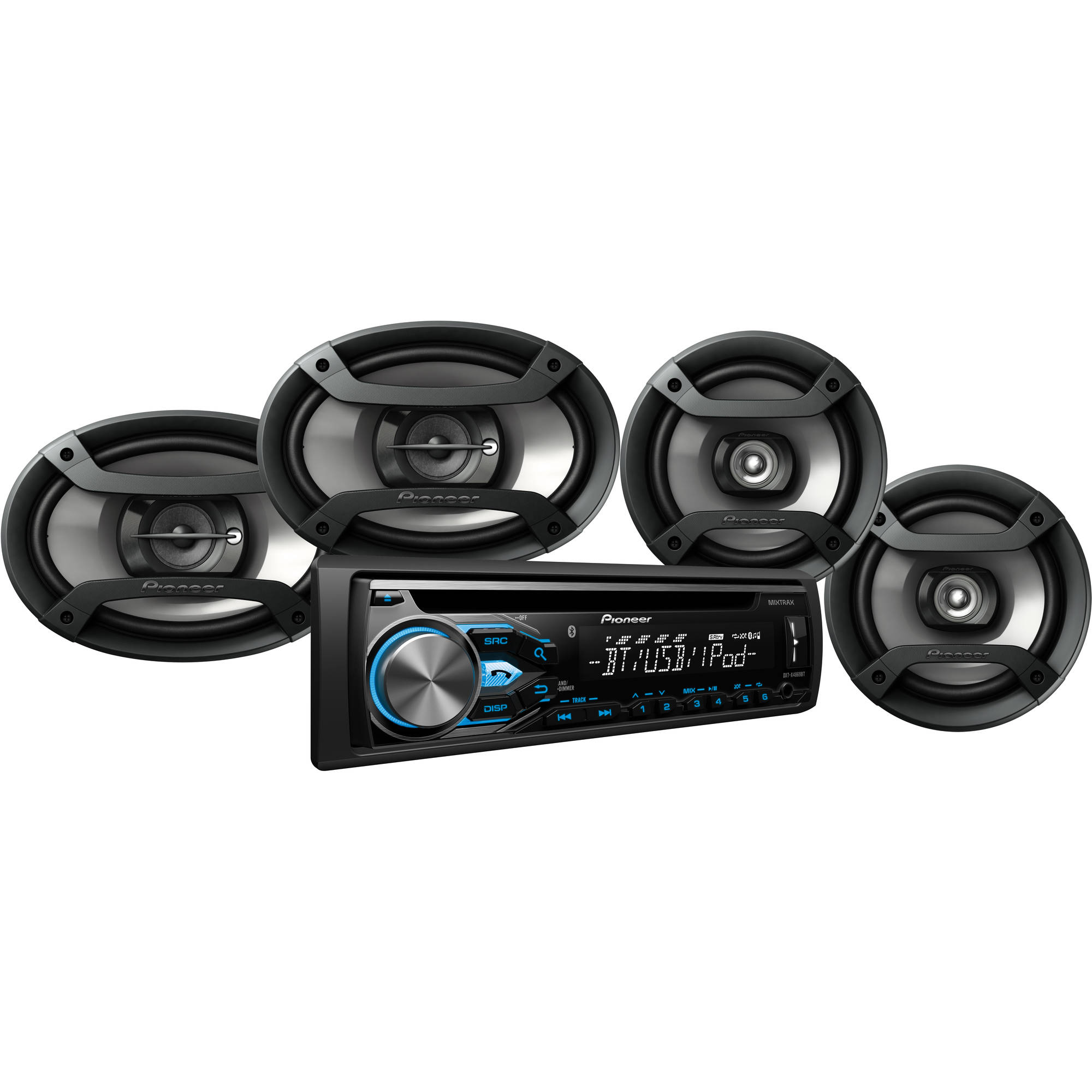 "Pioneer DXT-X4869BT Bluetooth CD Car Stereo Receiver Bundle with Two 6.5"" Speakers and Two 6"" x 9"" Speakers, w/ Remote"