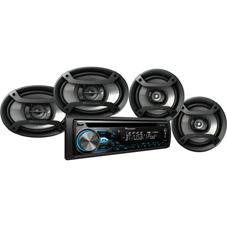 Pioneer DXT-X4869BT Bluetooth CD Car Stereo Receiver Bundle with Two 6 5