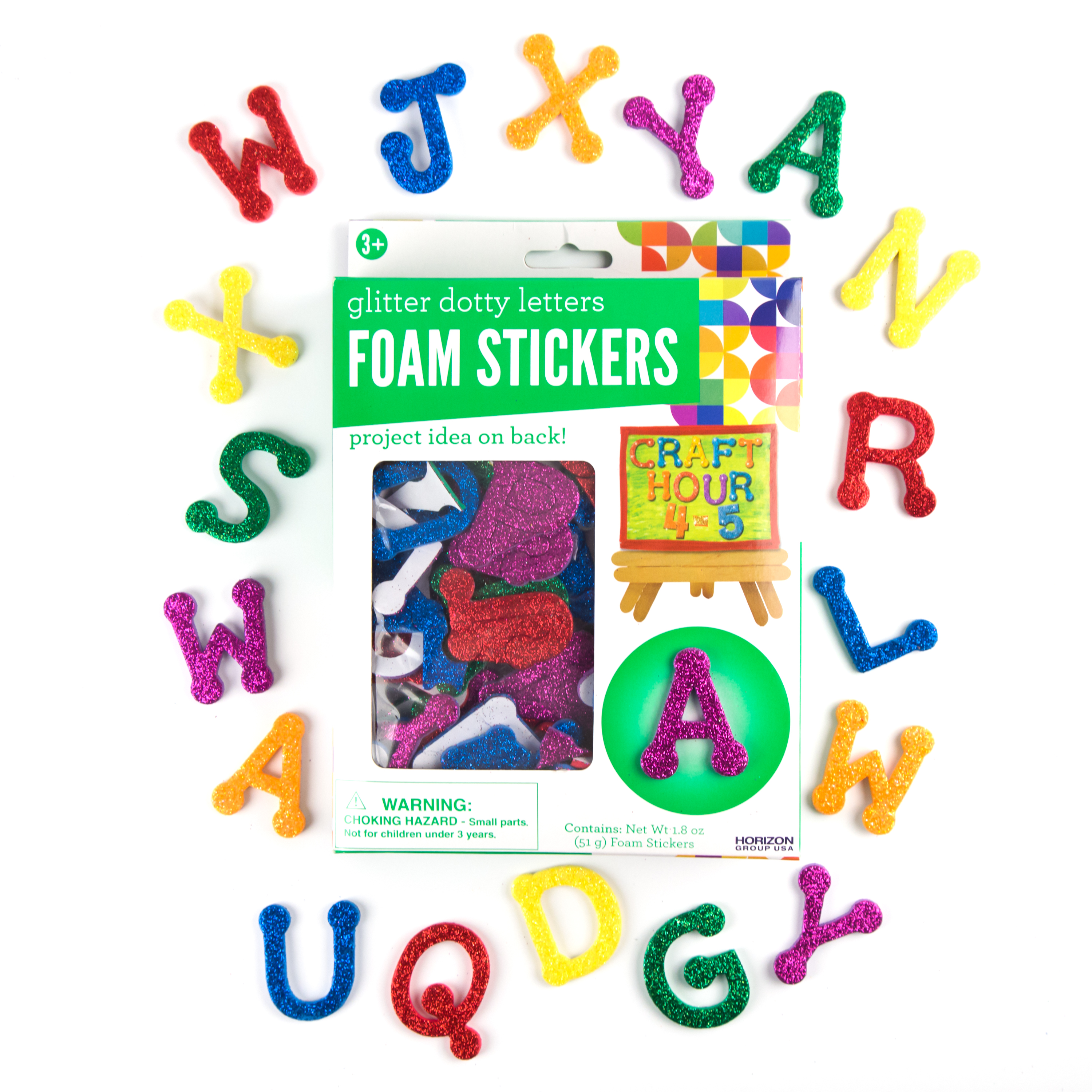 Dotty Letters Glitter Foam Stickers by Horizon Group USA