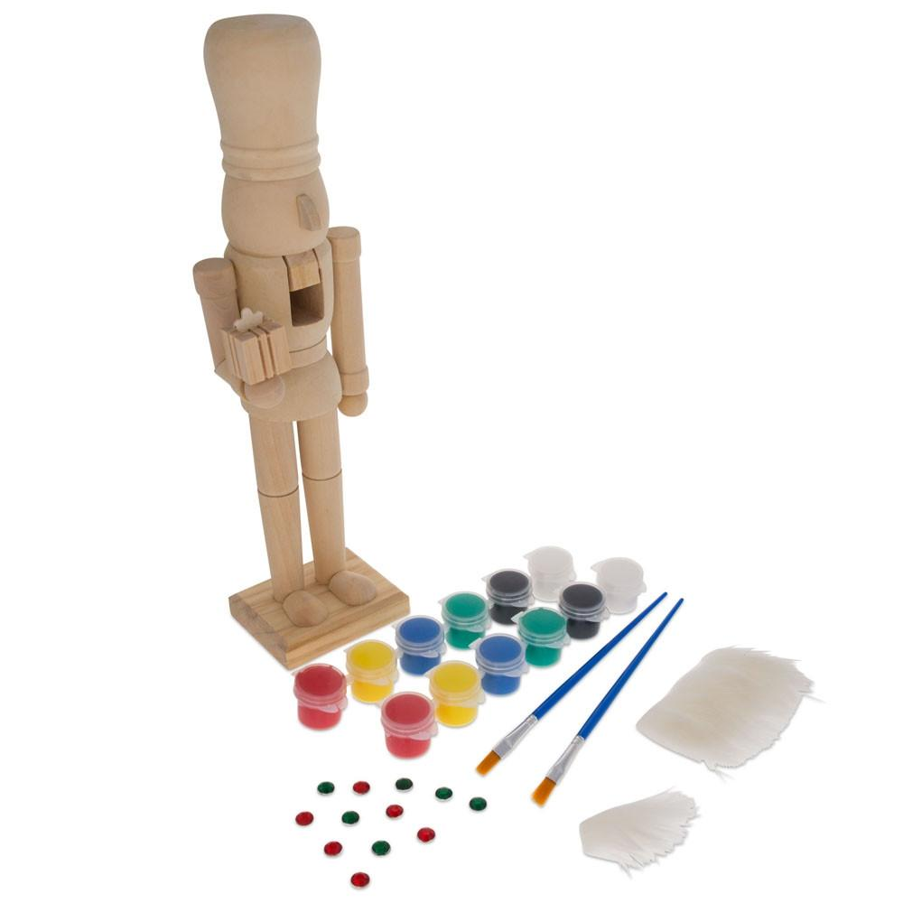 """12"""" Unpainted Blank Wooden Nutcracker with Paint, Fur, and Stones"""