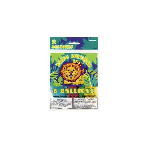 Unique Industries 28915 8 Count 12 inch Smiling Safari Balloons Pack of 12