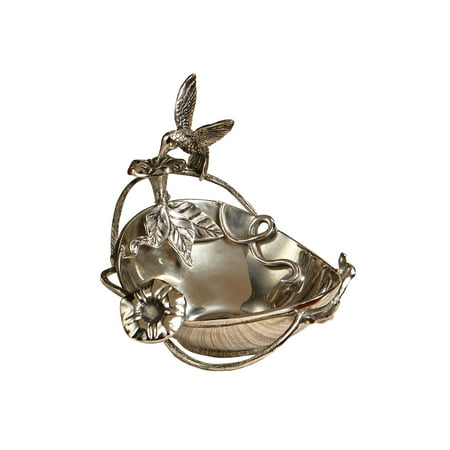 Star Home Hummingbird Decorative Tidbit Bowl - Nickel-Plated Cast Aluminum Serving Nut Candy Trinket Dish Aluminum Serving Dish
