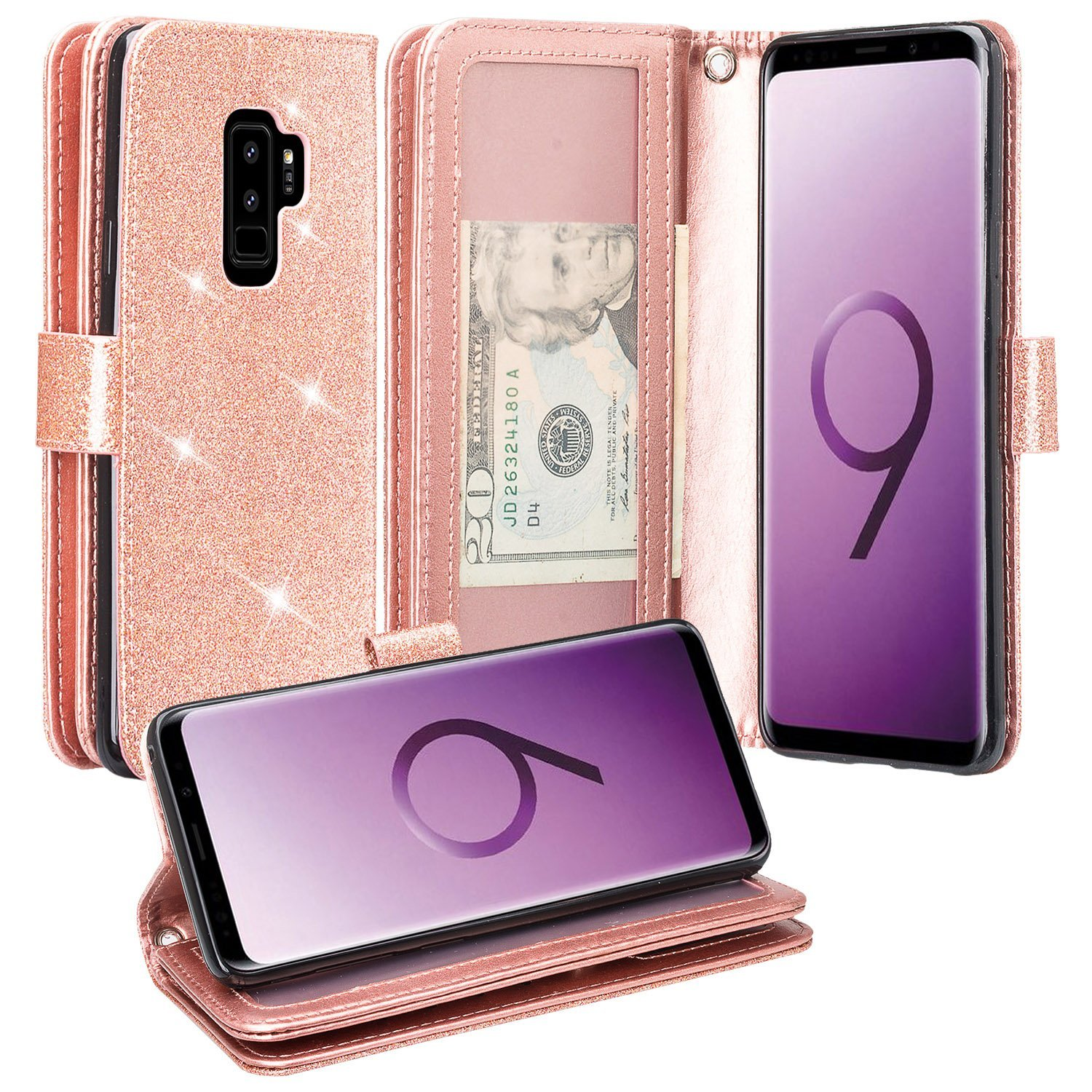 Galaxy S9 Case, Samsung Galaxy S9 Phone Cases Glitter Faux Leather Flip Credit Card Holder Wrist Strap Shockproof Protective Wallet Case Clutch Galaxy S9 (Rose Gold)
