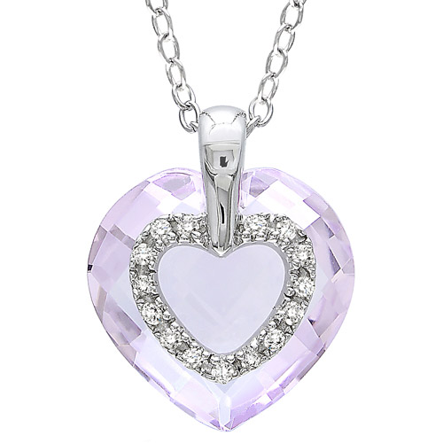 6 Carat T.G.W. Heart-Shaped Rose de France and Diamond Accent Sterling Silver Pendant, 18""