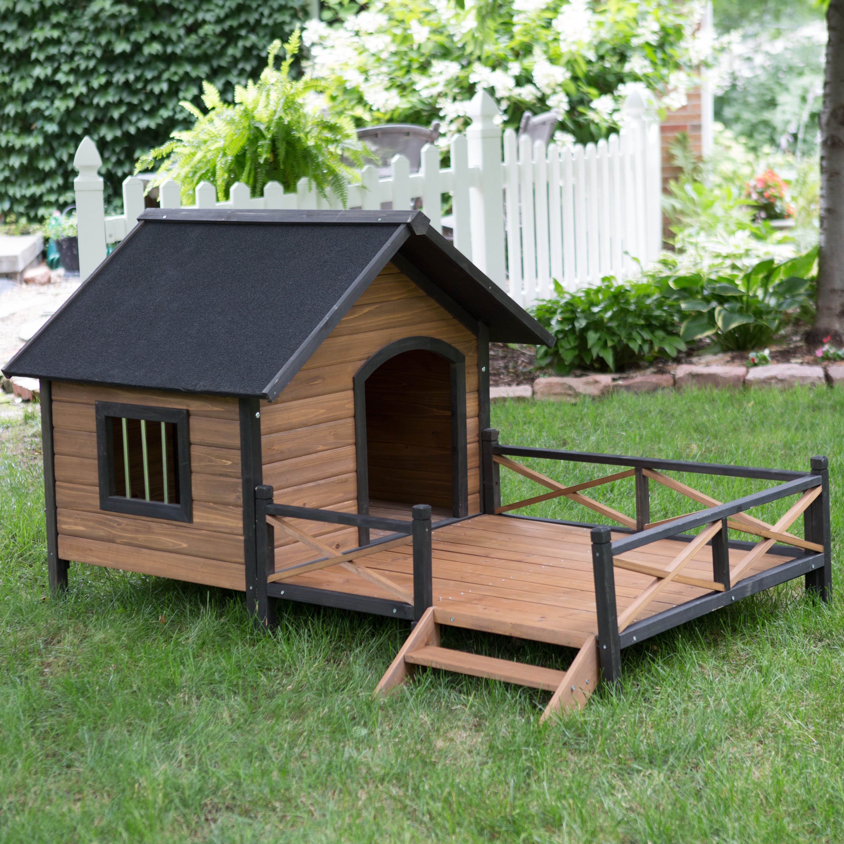 Dog house of green valley - Boomer George Lodge Dog House With Porch Large
