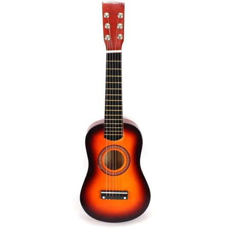 Acoustic Classic Rock 'N' Roll 6 Stringed Toy Guitar Musical Instrument w/ Guitar Pick, Extra Guitar String (Orange) - Rock Toys