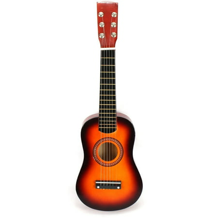 Acoustic Classic Rock 'N' Roll 6 Stringed Toy Guitar Musical Instrument w/ Guitar Pick, Extra Guitar String (Orange)