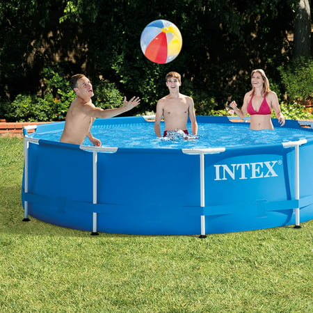 intex 10 39 x 30 metal frame above ground swimming pool with filter pump. Black Bedroom Furniture Sets. Home Design Ideas