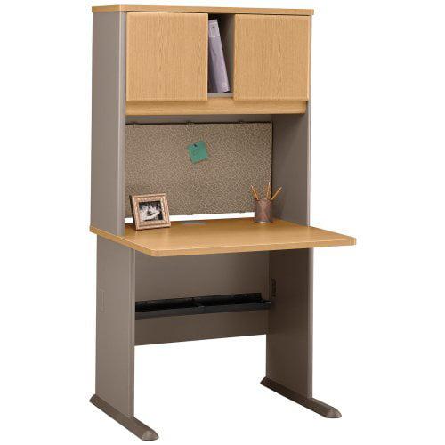 Bush Series A 36 Inch Desk and Hutch in Light Oak and Sage