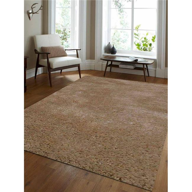 5 x 8 ft. Shag Solid Hand Tufted Polyester Area Rug, Ivory - image 1 of 1