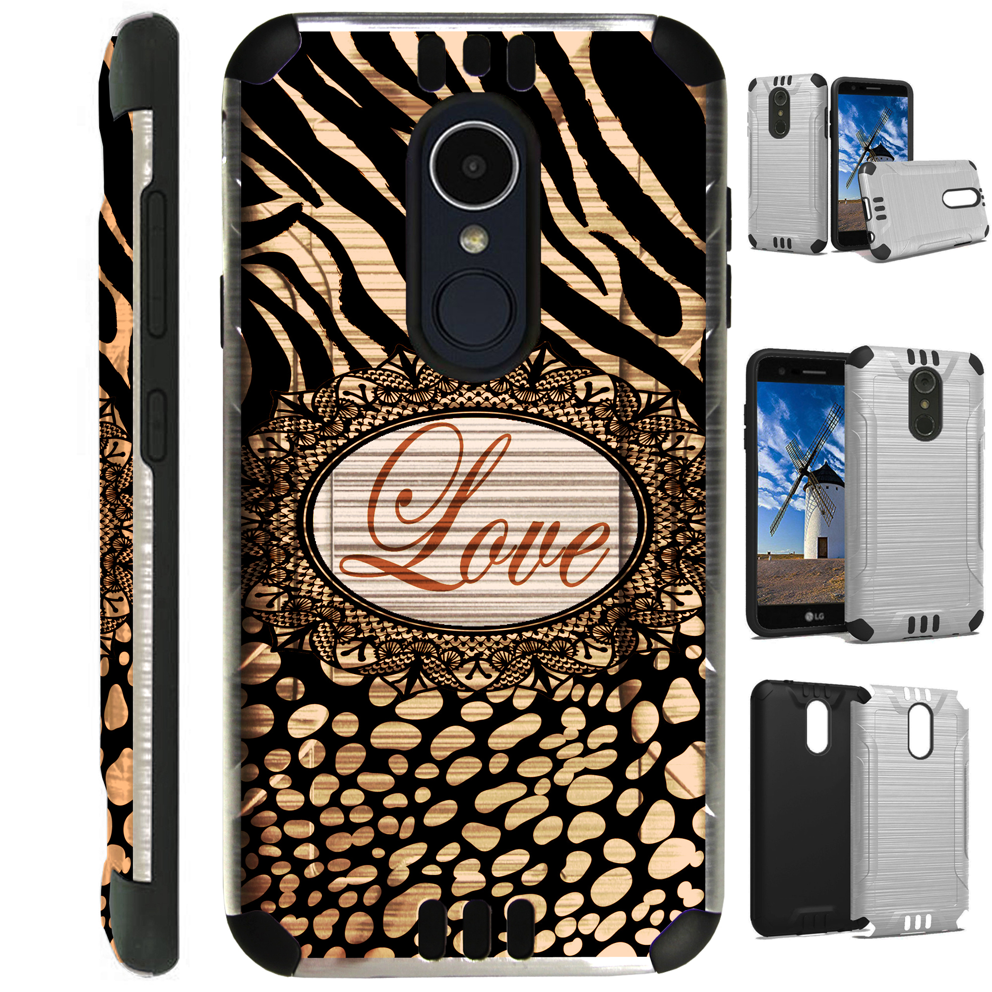 For LG Rebel 3 | LG Rebel 4 Case Brushed Metal Texture Hybrid TPU Silver Guard Phone Cover (Brown Zebra Love)