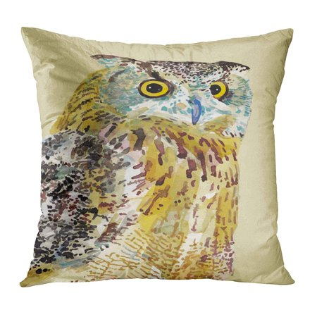 BOSDECO Watercolor Painting of Bird Owl I Am Author This Ink Drawing Sketch Farm Wildlife PillowCase Pillow Cover 20x20 inch - image 1 of 1