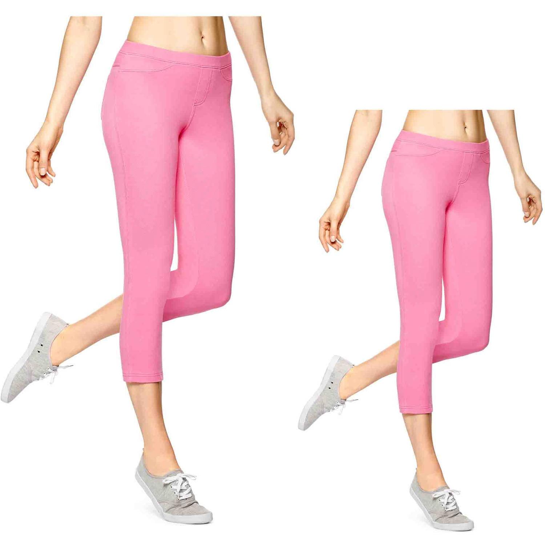 No nonsense Fashion Denim Pink Candy Heart Capri Leggings - 2 Pair