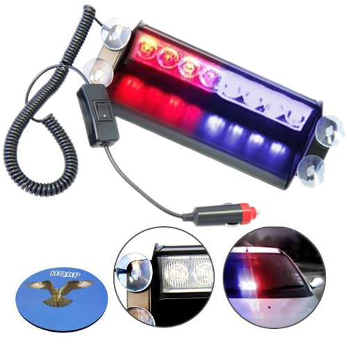 HQRP 8 LED Car Emergency Vehicle Warning Strobe Flash Light 12V 4 Blue plus 4 Red LEDs plus HQRP UV Meter