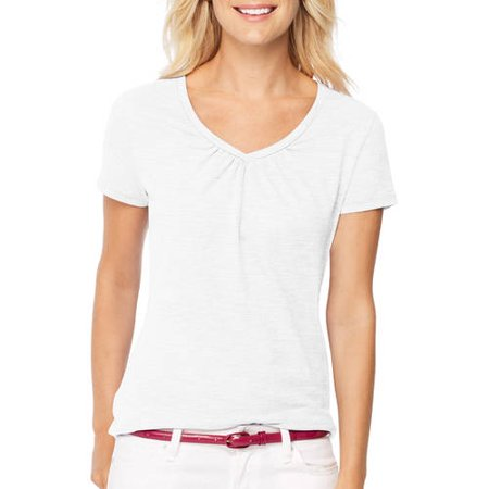 Hanes Women's Shirred S/S V-neck T-shirt Hanes Women's Short-Sleeve Shirred V-Neck TeeLuxurious tri-blend fabric feels awesome next to your skin. (All colors are lightweight 52% cotton/29% rayon/19% polyester.)Shirring at center neckline creates fluid, flattering gathers. Contoured shirttail hem adds feminine appeal. All the comfort of Hanes with our famous tag-free collar. Choose from solids and subtle stripes. Machine wash cold with like colors. Remove promptly. Use only non-chlorine bleach when needed. Tumble dry low. Cool iron if needed.