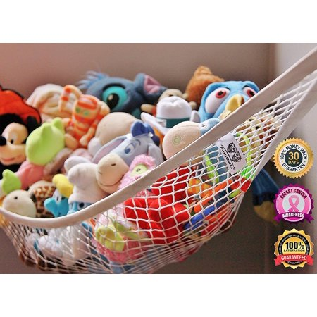Toy Storage Hammock Large Organizer White (also comes in XL) De-cluttering Solution & Inexpensive Idea for Every Room at Home or Facility - 3% is Donated to Cancer Foundation ()