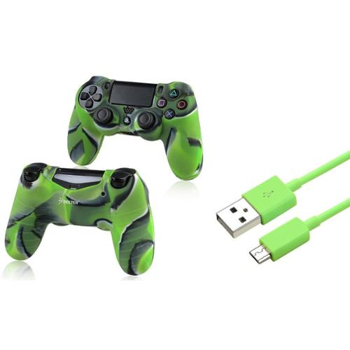 Insten Green 3FT Micro USB Charger Cable+Camouflage Navy Green Skin Case Cover for Sony PS4 Playstation 4
