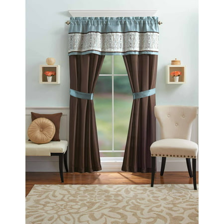 Better homes and gardens blue ombre scroll 5 piece window Better homes and gardens valances for small windows