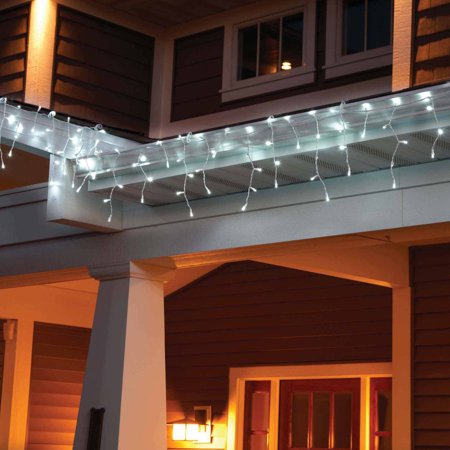 holiday time led lite lock christmas icicle lights cool white 225 count