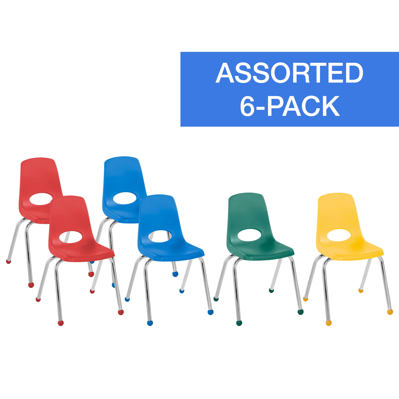 "ECR4Kids 6pk 16"" Stack Chair Chrome Legs Ball Glide, Assorted Colors"