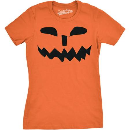 Womens Spikey Teeth Pumpkin Face Funny Fall Halloween Spooky T shirt