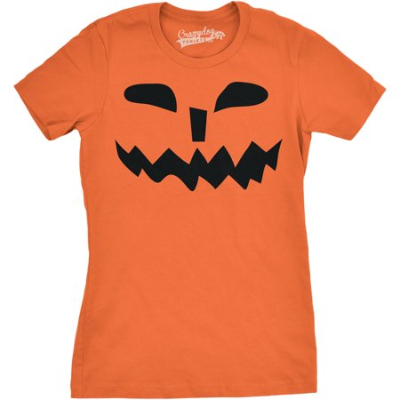 Womens Spikey Teeth Pumpkin Face Funny Fall Halloween Spooky T shirt