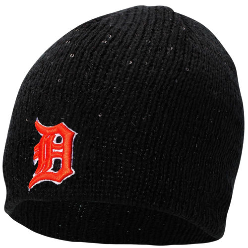Detroit Tigers New Era Womens Glistener Knit Hat Black by