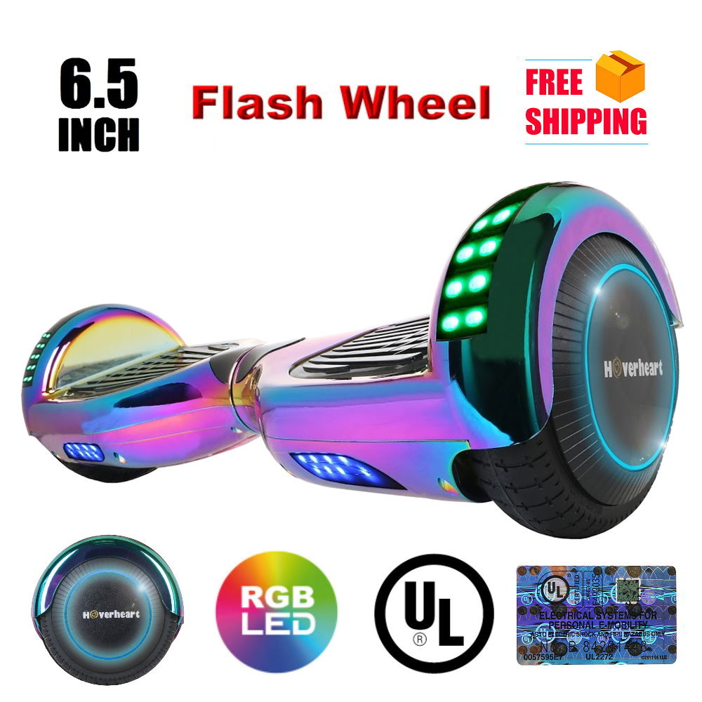 """UL 2272 Certified Hoverboard 6.5"""" Print Coating with LED Light Flash Wheel Self Balancing Wheel Electric Scooter - Chrome Rainbow"""