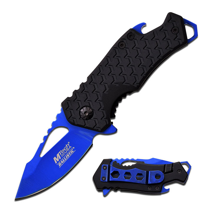 "Mtech SPRING ASSISTED KNIFE 3"" CLOSED 2.75"" BLUE BLADE"