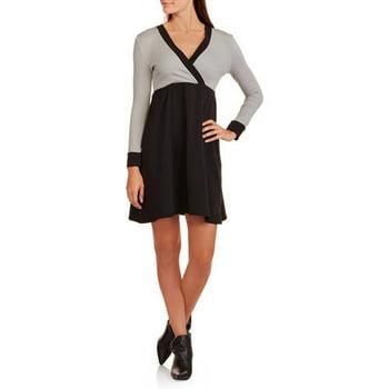 Women's Long Sleeve Colorblock Dress