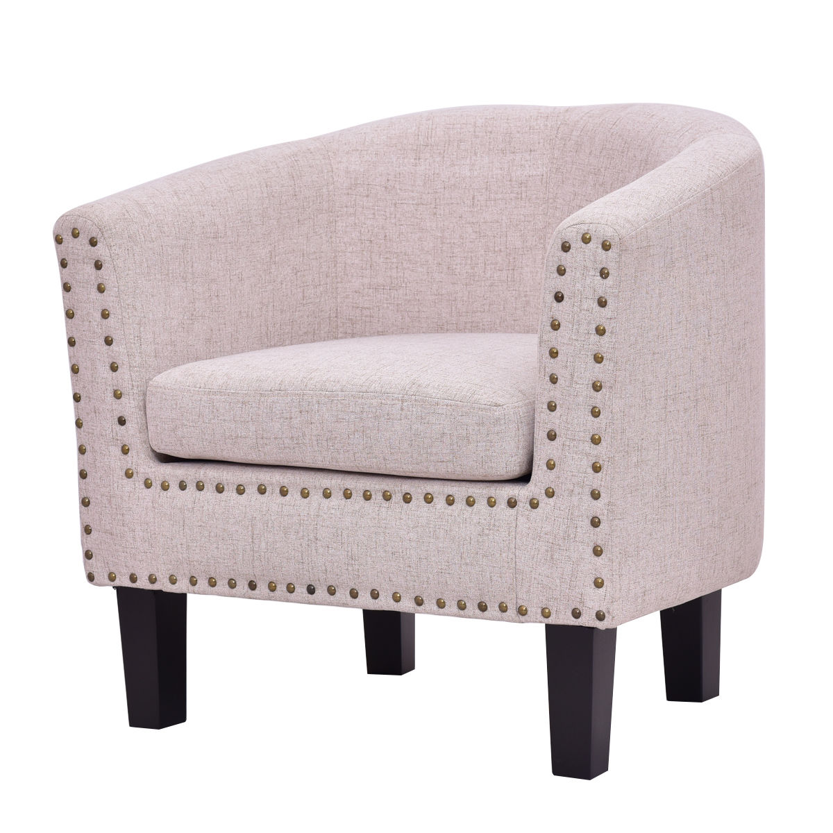 Costway Modern Tub Barrel Club Seat Arm chair Accent Fabric Nailhead w/ Cushion Beige